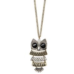 Chain With Oversize Owl Pendant ❤ liked on Polyvore