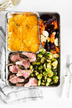Looking for the perfect small Easter dinner meal? This sheet pan Easter dinner recipe has you covered! It includes roasted lamb chops, scalloped potatoes, Brussels sprouts, and roasted root vegetables. A complete meal all made on one sheet pan! Easter Dinner Recipes, Delicious Dinner Recipes, Easter Brunch, Holiday Recipes, Side Recipes, Veggie Recipes, Cooking Recipes, Roasted Lamb Chops, Best Comfort Food