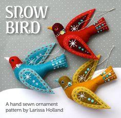 Snow Bird PDF pattern, a hand sewn wool felt ornament by mmmcrafts on Etsy https://www.etsy.com/listing/169732603/snow-bird-pdf-pattern-a-hand-sewn-wool