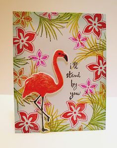 Hero Arts Flamingo and Stampin' Up! Tropical Party handmade all occasion card