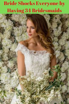 A New Orleans bride has stirred up controversy by having 34 bridesmaids at her lavish wedding. I don't even know that many people! Joyce Young, Wedding Dresses London, Viral Trend, Lace Flowers, Just Amazing, Beaded Lace, Celebrity Gossip, Fashion News, Flower Girl Dresses