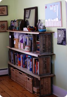 DIY bookcase with ends made of vintage milk crates