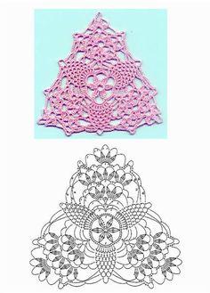 three triangle crochet motifs with graphs Crochet Diy, Filet Crochet, Crochet Motifs, Crochet Blocks, Crochet Diagram, Crochet Chart, Thread Crochet, Love Crochet, Irish Crochet