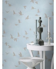 This stunning Flying Birds themed wallpaper features a flying geese design in a pale metallic silver that is embedded into soft matte paper in a beautiful sky blue shade. Also comes in a white and silver version Wallpaper Stencil, Wall Wallpaper, Pattern Wallpaper, Parrot Wallpaper, Butterfly Wallpaper, Silver Grey Wallpaper, Childrens Bedroom Accessories, Feature Wallpaper, Contemporary Wallpaper