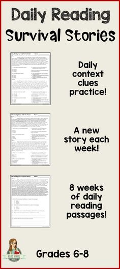 Two daily opportunities for context clues practice plus another reading comprehension question for each passage. 40 passages in all! Context clues, central idea and inferencing practice. Great for warmups or bellringers! Reading Comprehension Strategies, Comprehension Questions, Reading Passages, Reading Intervention, Reading Skills, Teaching Reading, Teaching Ideas, Reading Resources, Reading Help