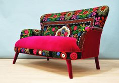 Patchwork sofa with Suzani fabrics 4 by namedesignstudio on Etsy