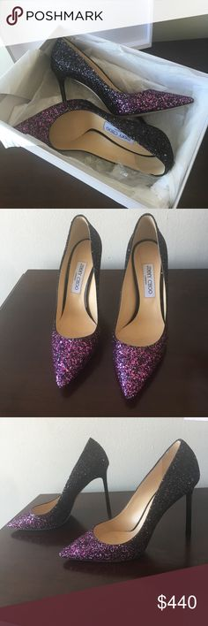 """Jimmy Choo Romy Glitter Pumps Selling these on my mom's behalf lol. She purchased these in two sizes and I'm selling the pair that didn't fit her. These are sparkly and gorgeous in person. The front has a purple (Jimmy Choo claims pink but they look kind of purple lol) and the transitions to a dark purple and black sparkles. The heel measures 4.25"""". These are in brand new condition. Accepting offers but please no lowballing. These are 9.5/39.5 - Italian sizing. The box will be included…"""