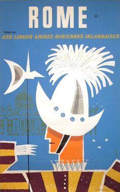 Vintage Italian Posters ~ #illustrator #Italian #posters ~ Roma, Italia.