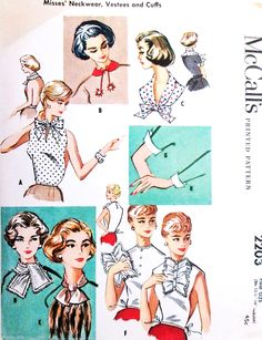 1950s FAB Accessories Neckwear, Collars, Scarfs,Vestees and Cuffs Pattern McCALLS 2203 Eight Styles Great For Under Suits One Size Fits All Vintage Sewing Pattern UNCUT
