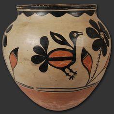 "#adobegallery - Kewa Pueblo Large Historic Polychrome Storage Jar. Category: Historic Origin: Kewa Pueblo - Santo Domingo Pueblo Medium: Native Materials Size: 12"" tall x 12-1/4"" diameter Item # SC2922B"
