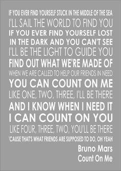Bruno Mars - Count On Me - Word Typography Words Song Lyric Lyrics Music Art
