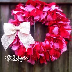 Valentines Red and pink shabby chic burlap rag wreath by CLMahler, $45.00