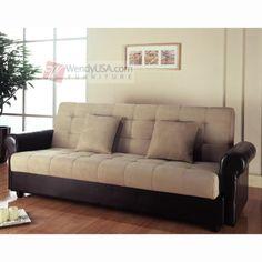 Primo Moon Convertible Futon Sofa Bed Brown