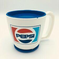 Pepsi Travel Coffee Mug & Lid Vintage Plastic Rotating Base Tape Red White Blue Pepsi Cola, I Love Coffee, Cute Mugs, Blue Accents, Coffee Travel, Red White Blue, Tape, Coffee Mugs, Profile