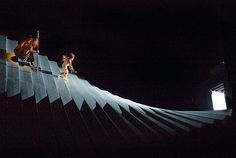 Wotan and Loge head down to the underground home of the Nibelungen, in Robert Lepage's new production of Das Rheingold.