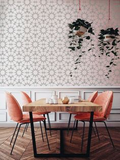 pink chairs // wood dining table