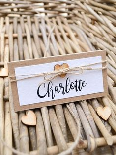 Handmade Wedding, Rustic Wedding, Diy Wedding Stationery, Wedding Name Cards, Heart Place, Place Names, Table Cards, Wooden Hearts, Twine