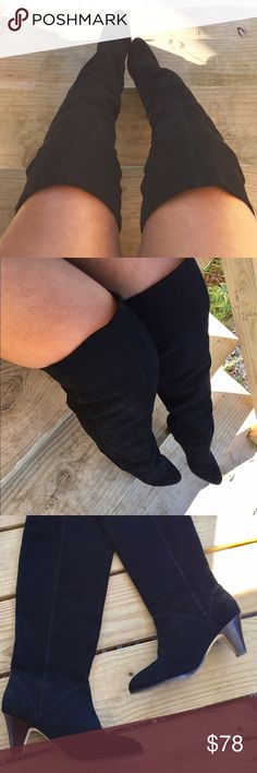 🎉HP 1/8/17🎉DV Dolce Vita Suede OTK Boots!! Black, slip on style, suede over the knee boots! Has minor areas or wear shown in picture 4, and normal bottom wear but are still in overall gently used condition!! DV by Dolce Vita Shoes Over the Knee Boots