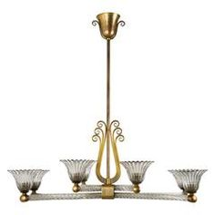 Exquisite Murano Glass Chandelier by Archimede Seguso, 1930s