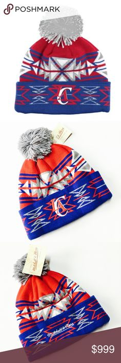 New~ LA Clippers NBA Geotech Pom Beanie Hat Mitchell & Ness NBA LA Clippers Geotech Pom Beanie Hat Cap  Condition: New with tags Size: One size fits most Product Detail: Unstructured relaxed fit Stretch fit  Woven graphics Hand wash, dry flat 100% acylic Soft woven acrylic construction Team Colors NBA Accessories Hats