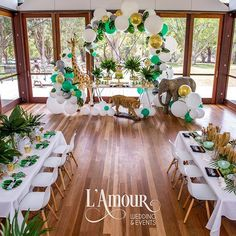 The dessert table by was framed amazingly by the animal props from and balloons by… Safari Theme Birthday, Jungle Theme Parties, Safari Birthday Party, Baby Party, Birthday Ideas, Jungle Party, Deco Baby Shower, Boy Baby Shower Themes, Baby Boy Shower