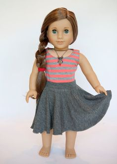 American Girl Doll midi circle skirt - grey by EveryDayDollWear