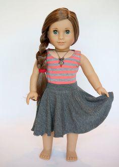 American Girl Doll midi circle skirt - grey by EveryDayDollWear