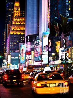 Urban Scene by Night, Times Square, Manhattan, New York City, United States Photographic Print by Philippe Hugonnard at Art.com