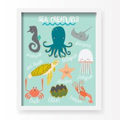 I Love Sea Life Art Print Angel Jr Sea Life Nursery - Our Original Sea Creatures Nursery Print Home Decor Art Print Is An Exclusive Lucy Darling Shop Print Each Art Print Is Nicely Packaged For With An Effortless Modern Style Lucy Darling Offers A Hig Sea Life Nursery, Ocean Themed Nursery, Nautical Nursery, Nautical Home, Nursery Wall Decor, Nursery Themes, Nursery Art, Nursery Ideas, Turtle Nursery