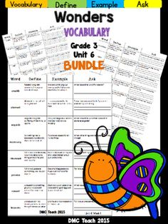 This 3rd grade Vocabulary Routine is aligned toMcGraw Hill Wonders for Grade 3, Unit 6 (Weeks 1-5) It contains all vocabulary words, definitions, examples, and a question for students to respond.This is a great way to reinforce weekly vocabulary words for homework or during independent centers.