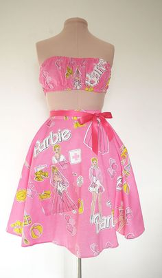 Barbie print  candy pink swing skirt  and by Thewardrobedoor1, £40.00