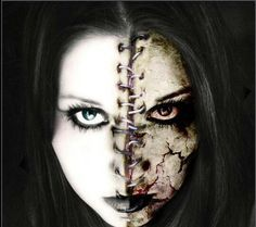"good vs evil makeup - Scratch the ""stitched down the middle"" look and this could be perfect for Jekyll & Hyde"
