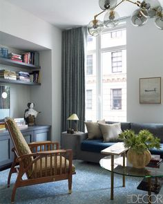 """For his part, Huniford felt """"an immediate connection"""" when he and Montgomery first met, which allowed a frank dialogue on the apartment's design. For example, he felt strongly that the living room seating area should be in the center of the room rather than, as convention might dictate, at the window that looks onto the river. """"I didn't want you to feel like you were sitting at the edge of the room,"""" he says. """"I like feeling centered in rooms. You want to experience the whole thing.""""…"""