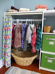 Check out the tour of Elise's Montessori-inspired baby nursery here. A shared space for a big sis and a little sis to sleep, s. Ikea Montessori, Montessori Toddler Bedroom, Baby Bedroom, Baby Boy Rooms, Little Girl Rooms, Girls Bedroom, Old Room, Long Shelf, Hanging Clothes
