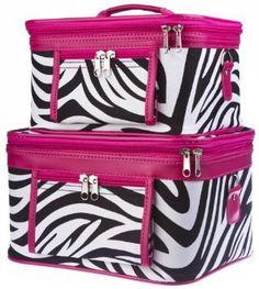 Train Case Cosmetic Toiletry 2 Piece Luggage Set Hot Pink Trim Black & White Zebra Print: Beauty