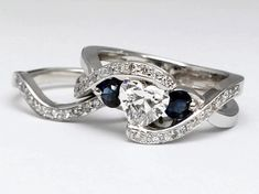 Twisted Heart Diamond Engagement Ring and Wedding Band