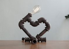 Cuore  Heart Shaped Industrial Iron Pipe Lamp by LuceLamp on Etsy, $99.00