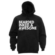 DPCTED Bearded Inked & Awesome Unsiex Hoodie Ink Tattooed Tattoo Beard Life in Sweats & Hoodies | eBay