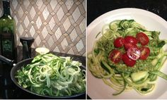"Here's what I made for lunch today.  My new favorite dish!  Zucchini ""Pasta"" with Pesto and Tomatoes.  Yum!!!  Made with my new favorite gadget (sitting beside the oil) ~ a Gefu Spirelli cutter.  OH. MY. GOSH!!!  I love this thing!!! It's so easy to use - you just stick the fresh zucchini in and twist and it cuts it into long spaghetti like strips.  I sauteed in a little olive oil, seasoned with a little salt and pepper, topped it with a little Basil Pesto and sliced cherry tomatoes."