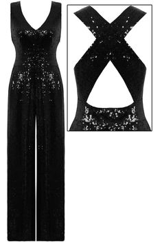 This pretty black sequins jumpsuit is a real head turner!Kriss cross straps to the back.Invisible zip at the side.Fully lined. LOVE!