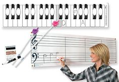 GIANT ERASABLE KEYBOARD & STAFF MATS, POINTERS & MARKERS SET Set includes:  Wall-size keyboard and grand staff, both with grommets for hanging, 2 telescoping pointers (ass't. colors), 5 black erasable markers.