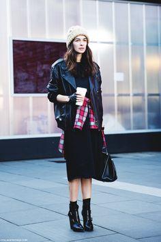 London_Fashion_Week-Street_Style-Fall_Winter_14-Leather-Tied_Shirt-Beanie-