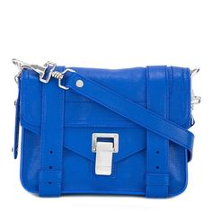 Proenza Schouler mini PS1 crossbody bag (13.118.305 VND) found on Polyvore featuring women's fashion, bags, handbags, shoulder bags, blue, mini crossbody, kiss-lock handbags, crossbody purses, blue cross body purse and crossbody shoulder bag