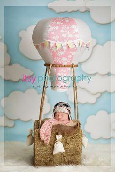 Travel Theme, nursery travel theme, newborn baby in a hot air balloon prop, aviator hat and hot air balloon basket