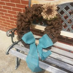 Burlap wreath...brown/turquoise...SO CUTE!! Go great with my new living room theme!