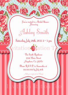 Shabby Chic Printable Invitation by InvitationStationToo on Etsy, $10.00