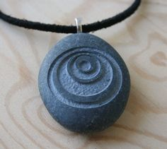Crop Circle 1 - Tiny PebbleGlyph (c) Pendent with Cord - engraved stone necklace