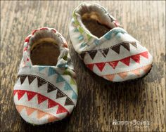 Beautiful Bunting -  Eco Friendly Baby Booties (6-12 months) Traction Soles - Ready to Ship. $18.99, via Etsy.