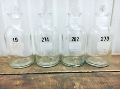Large Vintage Clear Glass Chemistry Bottles with Glass Penny Stoppers by PortlandRevibe on Etsy