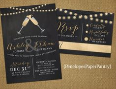 New Years Eve Wedding InvitationChalkboardGold Glitter